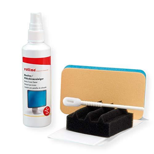 ROLINE PC Reinigungsset 125ml Spezial-Reiniger + Schwaemme + Tupfer + Tuecher