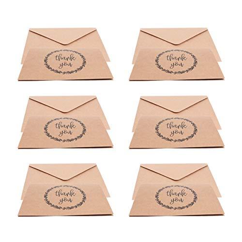 Toyvian Rustikales Kraftpapier 30pcs danken Ihnen, mit Umschlag Vintag zu kardieren, danke merkt Masse für Hochzeits-Staffelungs-Begräbnis- Babyparty