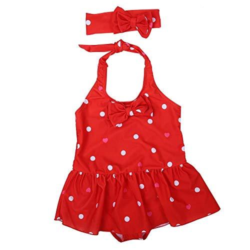 Einteilige Badebekleidung für Babys Badeanzug für Säuglingswellenpunkt-Ballettröckchenkinder Bowknot-Schwimmkleid Kids Beach Bathing Suits(XL-rot) -