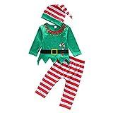 De feuilles Baby 3pcs Bekleidungssets Weihnachten Elf Kostüm Gestreift Mütze Langarmshirts mit Druck Streifen Hosen