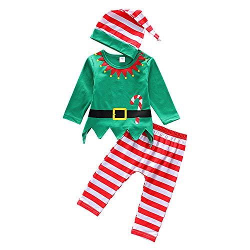 De feuilles Baby 3pcs Bekleidungssets Weihnachten Elf Kostüm Gestreift Mütze Langarmshirts mit Druck Streifen - Herren Elf Kostüm Muster