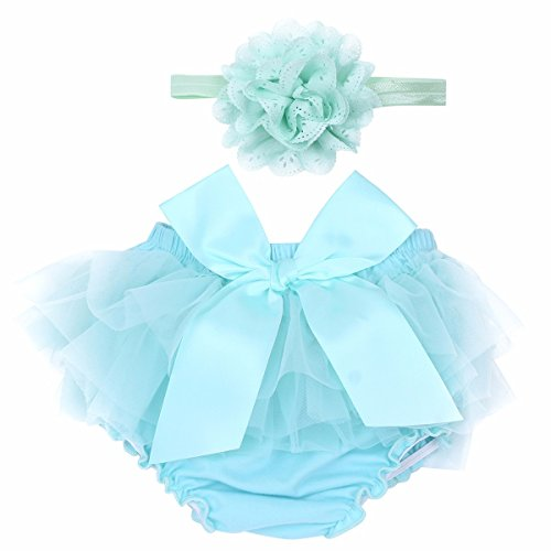 TiaoBug Infant Baby Girls Tulle Bowknot Bloomers Diaper Cover Ruffle Shorts With Flower Headband Baby Photography Prop