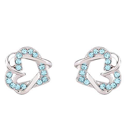 AGTYHHLKKURomantic Mädchen-Herz-Ohrring-nette Artrhinestone-Bolzen-Ohrringe für WomenWedding Kristallschmucksachen - Kristall-herz-bolzen-ohrringe