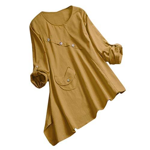Dorical Damen Leinenhemd -Bequem Mantel Lässig Mode Jacke Frauen mit Langen Ärmeln Vintage Elastische Oberteile Bluse Tops S-5XL Ausverkauf(Z02-Gelb,XX-Large) (Halloween-kostüme Die Familie 3 Für 2019)