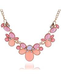 Curvy Fashion Gold & Orange Alloy Strand Necklace For Women (CQF007)
