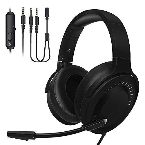 JINDUN Gaming Headset kopfhörer 3,5mm Konsolen Headphone für Xbox One PS4 und PC Kopfhörer mit Rauschunterdrückung über das Ohr Stereo Sound Gaming Kopfhörer 3.5 Mm Kopfhörer