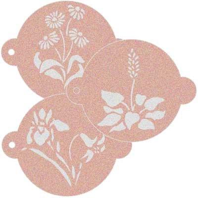 Stencil Reposteria Kit Floral 004. Mesures [: mesure extérieure du Stencil: 11,5x 9cm mesure du design: 4x 6cm mesure de la figure 1: 6x 5,5cm mesure de la figure 2: 6x 5cm