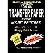Inyección De Tinta Para Imprimir Hierro En Camiseta Y Tela Papel De Transferenicia Para Telas Oscuras 20 A4 Láminas