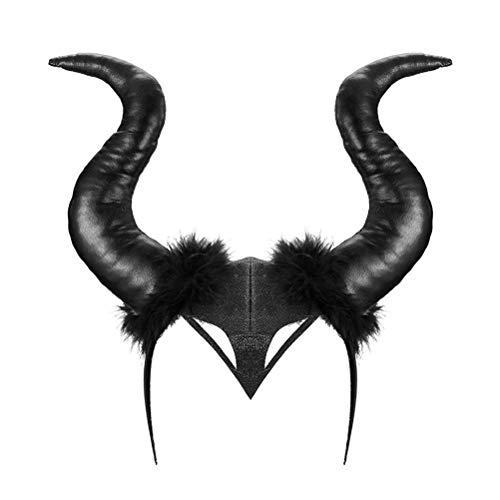 Horn Stirnband, Halloween Kostüm Hörner Hat Deluxe Kopfbedeckung für Damen Mädchen Erwachsene Halloween Cosplay Party Stirnband,schwarz