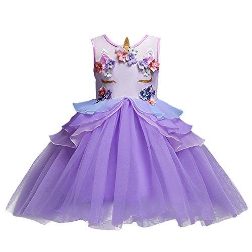Violett Mädchen Kostüm Prinzessin - OBEEII Baby Kleid, Chiffon Baby Kinder Mädchen Prinzessin Einhorn Dekoration Drucken Brautjungfer Festzug Party Hochzeitskleid Violett 9-10 Jahre