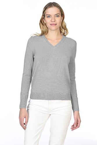 STATE CASHMERE langärmliger Pullover aus 100 % reinem Kaschmir mit V-Ausschnitt für Damen (Grau Kaschmir-pullover)