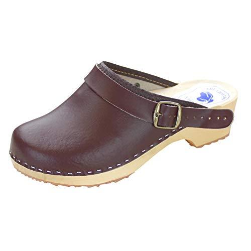 Forfus Damen Holzclogs Leder Pantoletten Geschlossen, Farbe: Braun, Schuhe Größe: 41 EU