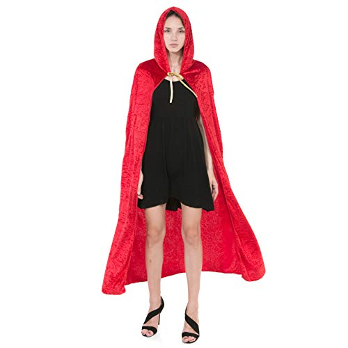 Spooktacular Umhang mit Kapuze Samt Mantel Halloween Damen Vampir Hexe Cape Kostüm (Rot)