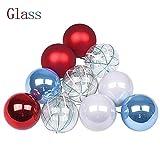 Victor's Workshop 12er Set 6CM Weihnachtskugeln Glas Christbaumkugeln, Glaskugel Ornament Weihnachtsbaum Dekoration für Weihnachtsfdeko Rot/Blau/Weiß