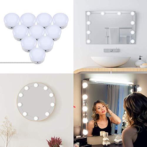 OUSFOT Led Spiegelleuchte Schminktisch Beleuchtung Hollywood Stil Schminklicht für Spiegel mit Schalter Make Up Licht 10 Dimmbar Verstellbare Länge Kaltweiß Verpackung MEHRWEG (Make-up-spiegel-leuchten)