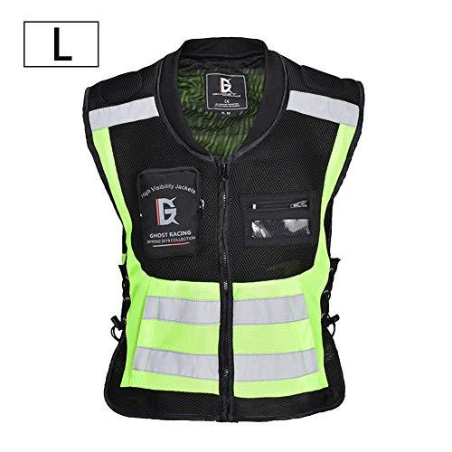 iBaste Professionelle Warnweste Sicherheitsweste Sicherheits-Weste reflektierend Sichtbarkeit Reflektierend Verstellbar Weste Sicherheit Hoher Reflektorbänder Motorrad Reflektierende Jacke - Premium Atmungsaktive Jacke