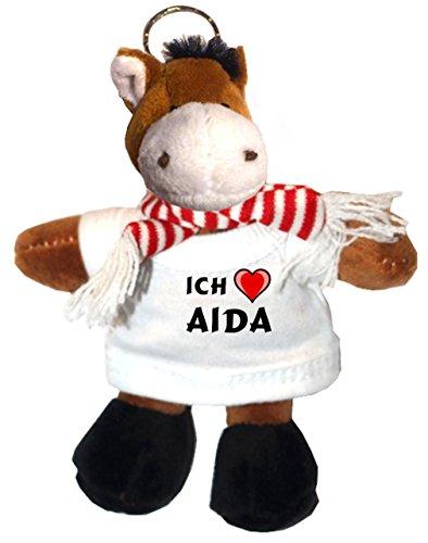 Preisvergleich Produktbild Plüsch Pferd Schlüsselhalter mit T-shirt mit Aufschrift Ich liebe Aida (Vorname/Zuname/Spitzname)