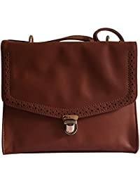 VINAY AND VIJAY Women's Classy Sling Bag With Brogue Design Tan Color