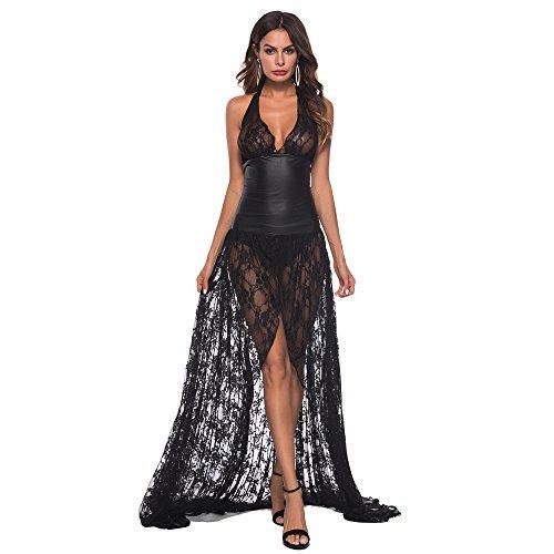 Ansenesna Reizwäsche Damen Erotik Schwarz Kleid Push Up Leder Spitze Transparente Babydoll Frauen Leidenschaft Versuchung Kostüme (M, Schwarz) -