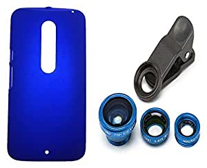XUWAP Hard Case Cover With Universal Clip Lens For Motorola Moto X Style - Blue