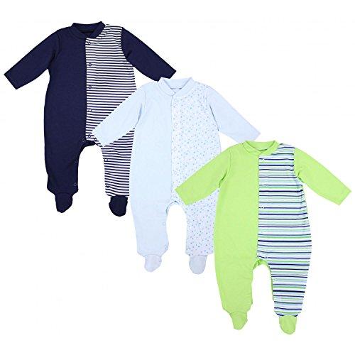 TupTam TupTam Unisex Baby Schlafoverall mit Fuß 3er Pack, Farbe: Junge 2, Größe: 56