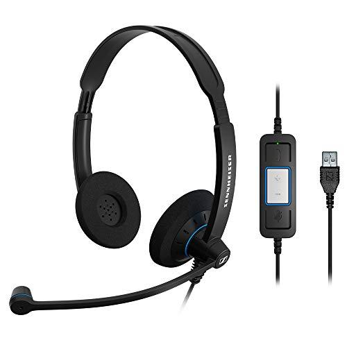 Sennheiser SC60 USB-Headset mit Zwei Kopfhörermuscheln, Schwarz -