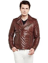 Bareskin Brown Quilted Biker Leather Jacket
