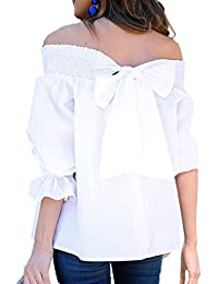 Bianco Camicia it E Bluse T Scoperte Amazon Spalle Camicie z5qwdIIfU