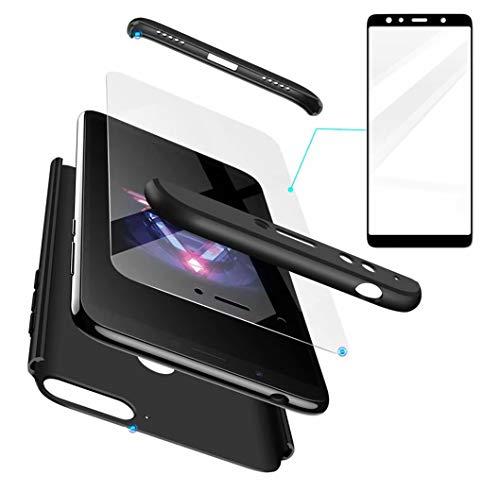 AILZH Huawei Honor 7X Hülle+Gehärteter Glas Folie 360 Grad HandyHülle PC Hartschale Anti-Schock Schutzhülle Anti-Kratz Stoßfänger Bumper 360° Cover Case matt Schutzkasten(Schwarz)