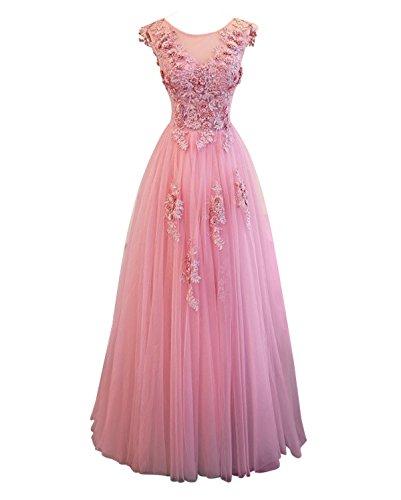 Lovelybride Elegante ärmellose Spitze Applique Abendkleid Lang Rosa Abendkleid