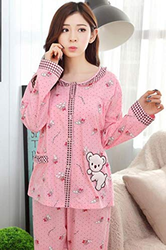 GHFDSJHSD Damen Pyjama Set Damen Lange Ärmel Hose große Größe Baumwollspitze Floral Cardigan Button 5XL DREI Farboptionen Herbst Winter Nachtwäsche als Geschenk, XXL /140-160 kg / -