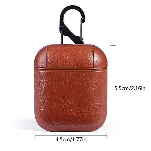 Mysail Leather Skin Fit Vintage Matte Leather Hook Case Cover Compatible with Apple Airpods Protective - Brown Image 5
