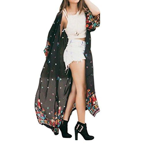 Yogogo Femmes Gland Été Kimono T-Shirt Top Cardigan Blouse Tunique Shawl Tops Noir