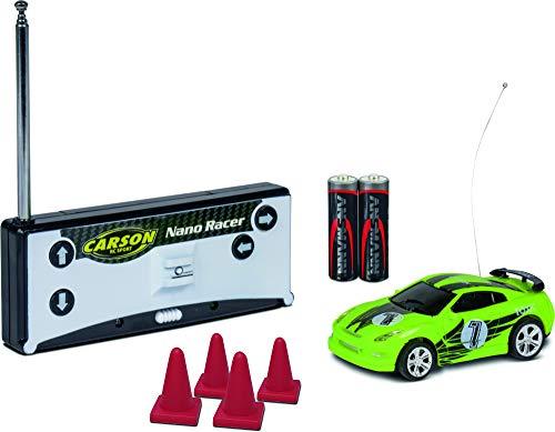 Carson 500404181 500404181-1:60 Nano Racer Toxic - Coche teledirigido (27 MHz, Mando a Distancia, Incluye Vitrina de Almacenamiento), Color Verde