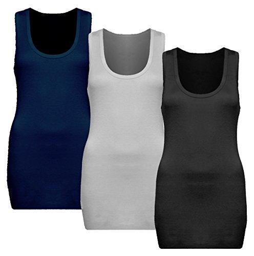 3x Damen Tanktop - Beach Top - Tank Tops - Unterhemd Ringertop - Ringerrücken - Runder Halsausschnitt - TShirt - 3er Pack - 9002 - Schwarz + Weiß + Dunkel Blau