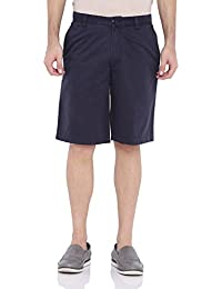 Blue Wave Solid Navy Blue Casual Men's Shorts