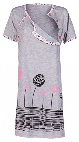 stands-Nachthemd mit Stillfunktion. Stillshirt Kurzarm. 135p (Licht Rosa, EU 42, XL) (Weiches Nachthemd)