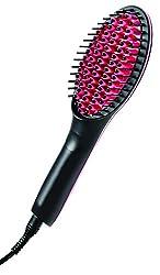 Simply Straight Ceramic Brush Hair Straightener, Black/Pink