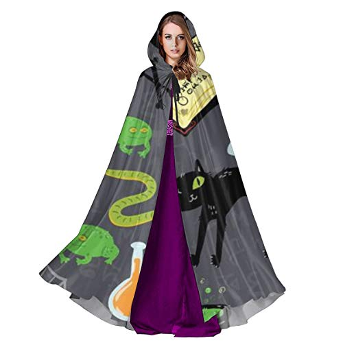CAP PILLOW HOME Unisex Halloween Costume Hooded Cloak Happy Halloween! Pumpkins Skulls Cats Spiders Snakes Frogs Magic Books Poisons Potions Cosplay Outwear for Adult (Cat Snake Kostüm)
