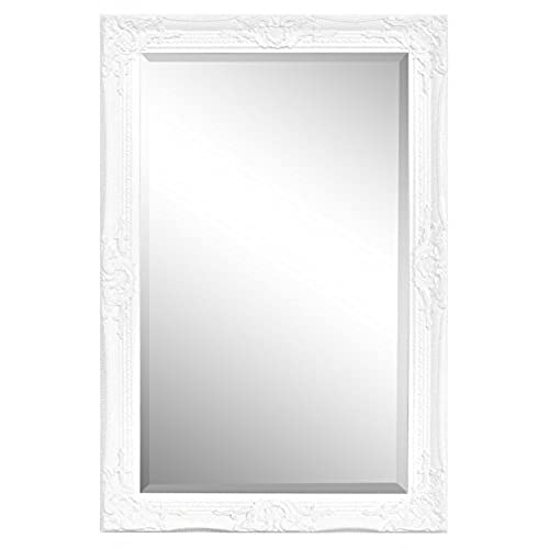large white frame wall mirrors