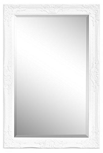 Specchio in stile shabby chic - legno massello - fatto a mano - barocco - grandi - 90x60 cm - antico bianco - rococo