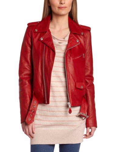 Schott Nyc 8600 - Veste en cuir - Manches longues - Femme Rosso (Rouge)