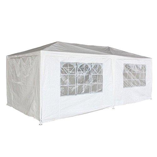 LARS360 3x6m Weiß Gartenpavillon Gartenzelt Bierzelt Pavillon Festzelt Strandzelt mit 6 Seitenwände 4 Fenster Polyethylen Stahlrohre Wasserdicht PE Plane