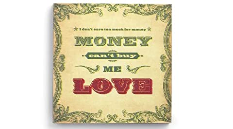 Lyricology, Canvas Wall Art, Song Lyrics on Hanging Wooden Picture Plaque- Multiple Designs to choose from (Can't Buy Me