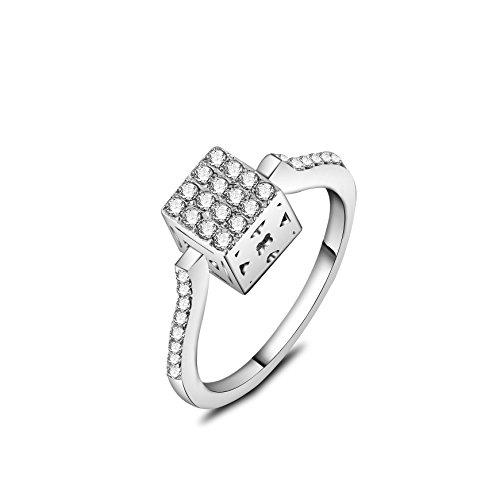 barbie, anello da ragazza e donna, anello in oro bianco e oro rosa, anello con un quadrato, anello moda , anello di squisita fattura #BSJZ089 (Placcato oro bianco, diametro 16.6mm)