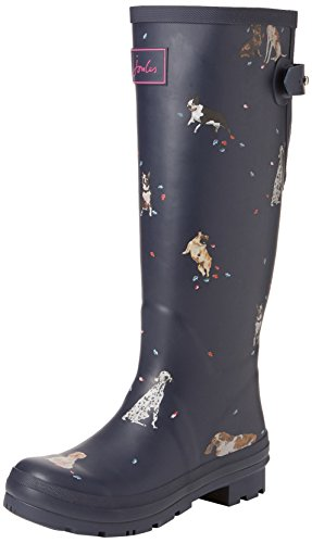 Joules Welly Print, Women's Wellington Boots Wellington Boots, Blue (French Navy Dogs In Leaves), 6 Uk (39 Eu)