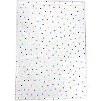 Mantel lavable para mesa de fiesta de 180 x 130 cm blanco con diseño de puntos de colores
