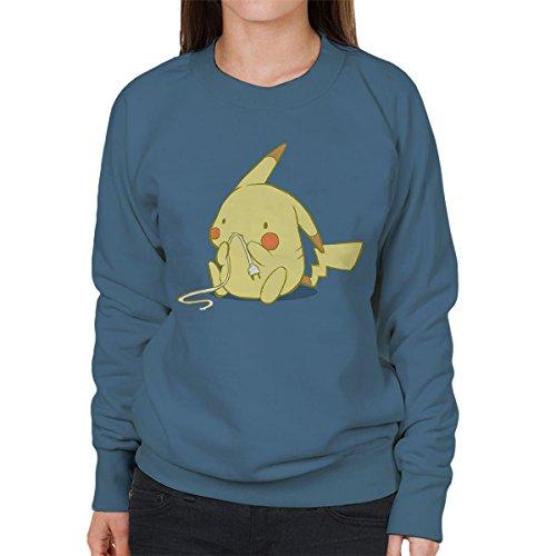 Cute Pika Pikachu Pokemon Women's Sweatshirt Indigo Blue
