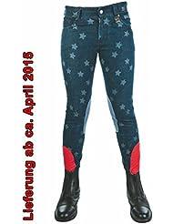 HKM _ _ _ _ _ _ _ _ _ _ de equitación-Bibi & Tina-texto,-Parche de la rodilla Alos EU140/uk24r/Edad 8-9-Jeans Azul