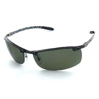 Ray Ban Men's Rb8305 Dark Carbon Frame/Polarized Green Lens Metal Sunglasses